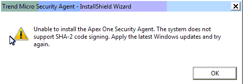 Unable to install the Apex One Security Agent