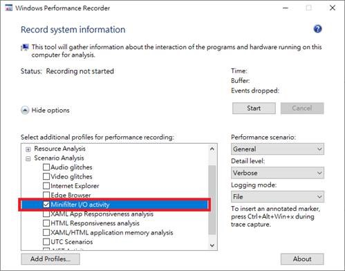 Windows Performance Recorder