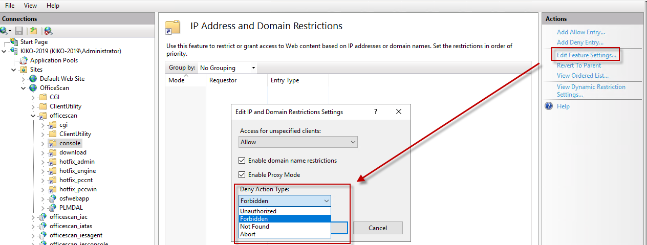 Restrict Apex One web console access