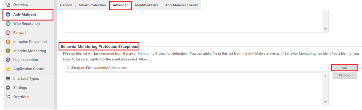 Add the application's full path to Deep Security Behavior Monitoring Protection Exception List