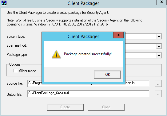 Package created successfully