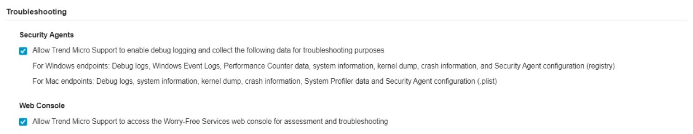Troubleshooting Settings